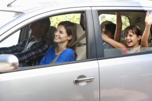 42269840 - family setting off on car journey